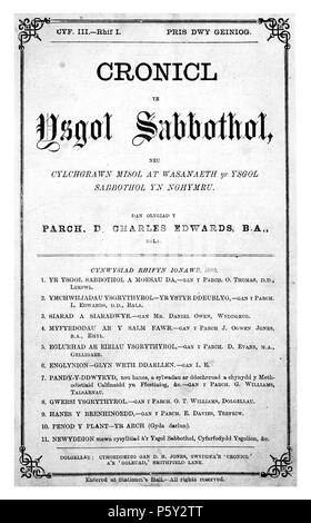 Cronicl yr Ysgol Sabbothol. English: A monthly Welsh language religious periodical serving the Sunday schools of the Calvinist Methodist denomination. The periodical's main contents were religious articles, news regarding the Sunday schools and music. The periodical was jointly edited by John Evans and John Jones until November 1879, by David Charles Edwards (1826-1891) until December 1881, and by Evan Davies between August 1883 and February 1884. The musician David Jenkins (1848-1915) served as music editor between 1880 and 1884. Cymraeg: Cylchgrawn crefyddol misol, Cymraeg ei iaith, a oedd y - Stock Photo
