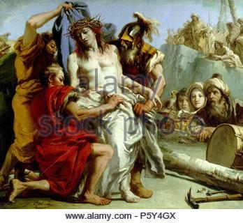 Giandomenico Tiepolo / 'The Disrobing of Christ', 1772, Italian School, Oil on canvas, 124,5 cm x 144,5 cm, P00359. Artwork also known as: El Expolio de Cristo. Museum: MUSEO DEL PRADO. - Stock Photo