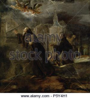 José Jiménez Donoso / 'The Vision of Saint Francis of Paola', 1691, Spanish School, Oil on canvas, 172 cm x 165 cm, P00694. Artwork also known as: VISION DE SAN FRANCISCO DE PAULA. Museum: MUSEO DEL PRADO. - Stock Photo