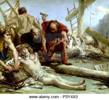 Giandomenico Tiepolo / 'The Crucifixion', 1772, Italian School, Oil on canvas, 124 cm x 144 cm, P00360. Artwork also known as: LA CRUCIFIXION. Museum: MUSEO DEL PRADO. - Stock Photo