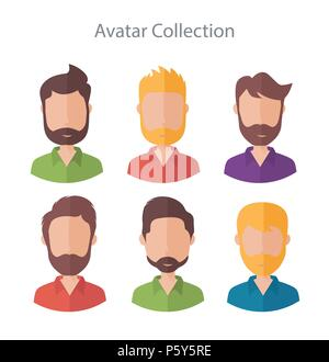 Set of different flat male vector characters - Stock Photo