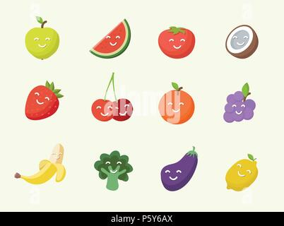 Happy smiling cartoon fruits icon. - Stock Photo