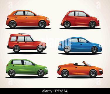 Set of realistic vehicles - Stock Photo