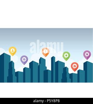 City skyline with pin icon vector illustration - Stock Photo