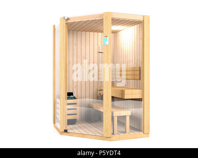 Sauna room isolated on white background - Stock Photo