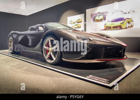 MARANELLO, ITALY-JULY 21, 2017: Black 2016 Ferrari LaFerrari Aperta in the Ferrari Museum - Stock Photo
