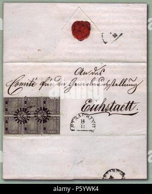 N/A. Deutsch: 'Eichstätt-Brief', einzig bekannter Brief mit einem Sechserblock der ersten Briefmarke Bayerns. Der Brief wurde am 14. November 1849 in Straubing aufgegeben und zum 'Comité für die Gewerbeausstellung in Eichstätt' geschickt. Stamp: 1849-11-01, Letter: 1849-11-14. Stamp: Entwurf und Stich: M. J. Seitz, Buchdruck: J. G. Weiss. Letter: unknown 497 Eichstaett-Brief-postfrisch - Stock Photo