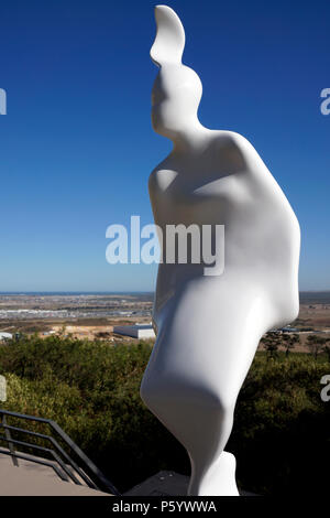 A figurative sculpture by Andre Stead in the sculpture garden is part of  the Art@DurbanvilleHills project at Durbanville Hills Wine Estate,Cape Town.
