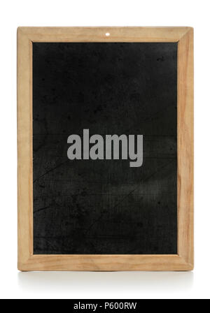 Dirty and stained vintage wooden chalkboard isolated on white background - Stock Photo