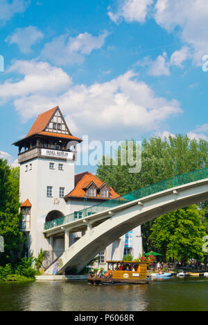 Bridge leading to Insel der Jugend, Treptower Park, Alt-Treptow, Berlin, Germany - Stock Photo