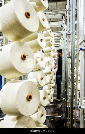 Cotton yarn spools in a textile industrial plant in southern Brazil. - Stock Photo