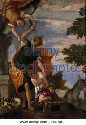 Paolo Veronese / 'The Sacrifice of Isaac', ca.  1586, Italian School, Oil on canvas, 129 cm x 95 cm, P00500. Artwork also known as: SACRIFICIO DE ISAAC. Museum: MUSEO DEL PRADO. - Stock Photo