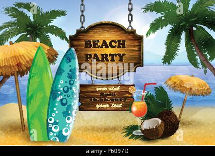 tropical vector background with leaves of palm trees summer sky and clouds wooden board for beach party or restaurant menu coconut and glass of bevera - Stock Photo