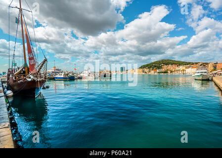 A wide variety of ships harbor at Riva waterfront, on the Dalmatian Coast of Split, Croatia - Stock Photo