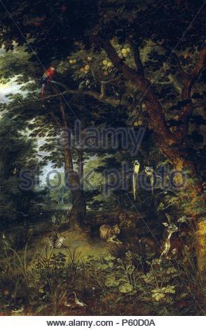 Jan Brueghel 'el Joven' / 'The Earthly Paradise', ca.  1620, Flemish School, Oil on panel, 59 cm x 41 cm, P01410. Artwork also known as: EL PARAISO TERRENAL. Museum: MUSEO DEL PRADO. - Stock Photo
