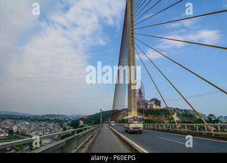 Ha Long, Vietnam - May 23, 2016. A cable-stayed bridge in Ha Long, Vietnam. Ha Long a city on northern coast is a jumping-off point for Ha Long Bay. - Stock Photo