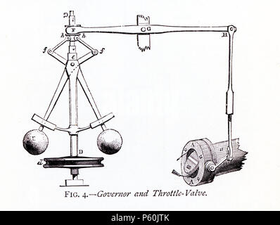 This 1870s illustration shows the governor and throttle-valve that was part of James Watt's steam engine. A Scottish inventor and mechanical engineer, James Watt (1736-1819) was said to have discovered the power of steam when he placed his hand in front of kettle that held a very hot liquid. Watt's improvements to the steam engine were key to the changes that came with the Industrial Revolution. The governor islabeled D here. The throttle valve is the piece at bottom right. - Stock Photo