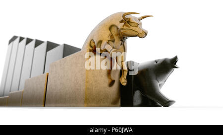 Bull and bear figurines trailing upward and downward trending graphs respectively side by side on an isolated background - 3D render - Stock Photo