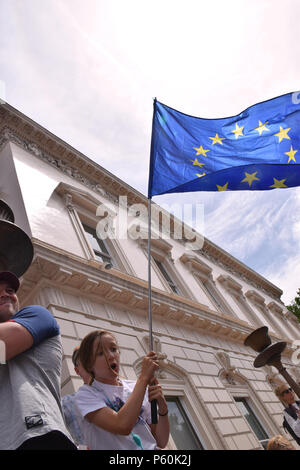 Anti Brexit demo, London 23 June 2018 UK. Campaign for a People's Vote on the final Brexit deal. - Stock Photo
