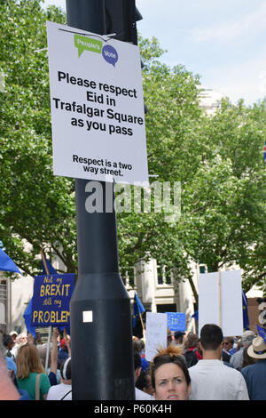Anti Brexit demo, London 23 June 2018 UK. Campaign for a People's Vote on the final Brexit deal. March passing the Eid celebrations in Trafalgar Squar - Stock Photo