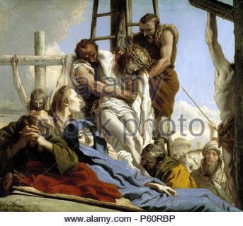 Giandomenico Tiepolo / 'The Descent from the Cross', 1772, Italian School, Oil on canvas, 124 cm x 142 cm, P00361. Artwork also known as: EL DESCENDIMIENTO. Museum: MUSEO DEL PRADO. - Stock Photo