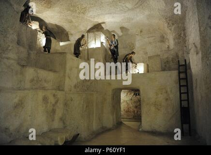 Mining history. Diorama. Extraction of salt. Wieliczka Salt Mine, Poland. In use since the 18th century. Deutches Museum. Munich. Germany. - Stock Photo