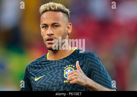 Moscow, Russia. 27th June, 2018. : Brazil's Neymar ahead of the 2018 FIFA World Cup First Stage Group E football match against Serbia at Spartak Stadium. Denis Tyrin/TASS Credit: ITAR-TASS News Agency/Alamy Live News - Stock Photo