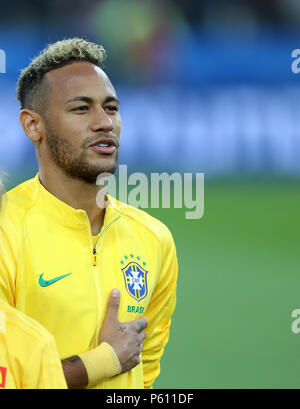 Moscow, Russia. 27th June, 2018. Neymar of Brazil is seen prior to the 2018 FIFA World Cup Group E match between Brazil and Serbia in Moscow, Russia, June 27, 2018. Credit: Xu Zijian/Xinhua/Alamy Live News - Stock Photo