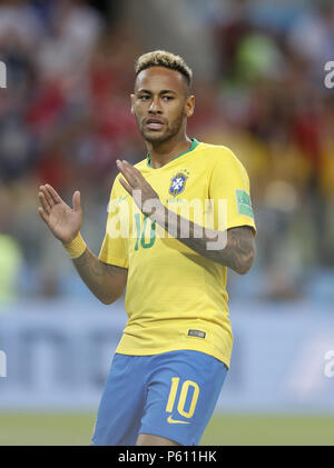 Moscow, Russia. 27th June, 2018. Neymar of Brazil reacts during the 2018 FIFA World Cup Group E match between Brazil and Serbia in Moscow, Russia, June 27, 2018. Credit: Cao Can/Xinhua/Alamy Live News - Stock Photo