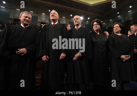 June 27, 2018 - (FILE) - Supreme Court Justice Anthony Kennedy, 81, announced his retirement. Kennedy, the longest-serving member on the Supreme Court, has been the swing vote in many of the court cases in recent years. Kennedy said he want so spend more time with his family. PICTURED: February 28, 2017 - Washington, District of Columbia, U.S. - Chief Justice JOHN ROBERTS (L) and Supreme Court Justices (2L-R) ANTHONY KENNEDY, STEPHEN G. BREYER, SONIA SOTOMAYOR and ELENA KAGAN arrive for US President Donald J. Trump's first address to a joint session of Congress from the floor of the House of R - Stock Photo