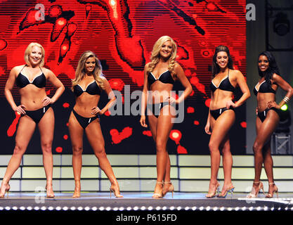 Lakeland, Florida, USA. 26th Jun, 2018. Contestants in the 2018 Miss Florida pageant participate in a preliminary swimsuit competition on June 26, 2018 at the R.P. Funding Center in Lakeland, Florida. While the national Miss America pageant announced on June 5, 2018 that they are doing away with their swimsuit competition, all the state programs within the Miss America organization, including the Miss Florida pageant,  will continue the practice this year for the final time. Credit: Paul Hennessy/Alamy Live News - Stock Photo