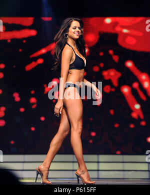 Lakeland, Florida, USA. 26th Jun, 2018. Miss University of Florida, Lexi Leitman, participates in the 2018 Miss Florida pageant's preliminary swimsuit competition on June 26, 2018 at the R.P. Funding Center in Lakeland, Florida. While the national Miss America pageant announced on June 5, 2018 that they are doing away with their swimsuit competition, all the state programs within the Miss America organization, including the Miss Florida pageant,  will continue the practice this year for the final time. Credit: Paul Hennessy/Alamy Live News - Stock Photo
