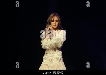 Seoul, Korea. 27th June, 2018. MIGYO attended the press conference to promote her first mini album 'Rain Sound' at Hana Tour V Hall in Seoul, Korea on 27th June, 2018.(China and Korea Rights Out) Credit: TopPhoto/Alamy Live News - Stock Photo