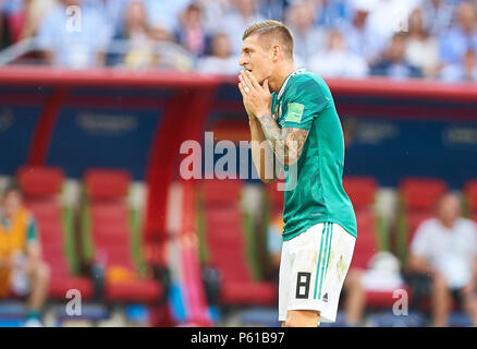 Kazan, Russia. 27th Jun, 2018. Germany - South Korea, Soccer, Kazan, June 27, 2018 Toni KROOS, DFB 8 sad, disappointed, angry, Emotions, disappointment, frustration, frustrated, sadness, desperate, despair,  GERMANY - KOREA REPUBLIC 0-2 FIFA WORLD CUP 2018 RUSSIA, Group F, Season 2018/2019,  June 27, 2018  Stadium K a z a n - A r e n a in Kazan, Russia. © Peter Schatz / Alamy Live News - Stock Photo