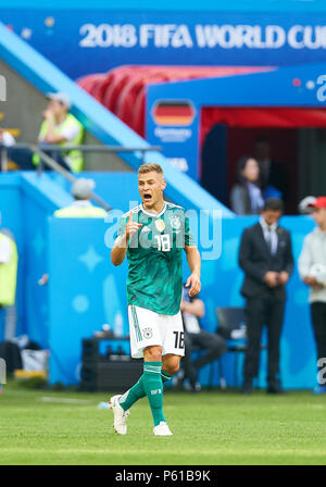 Kazan, Russia. 27th Jun, 2018. Germany - South Korea, Soccer, Kazan, June 27, 2018 Joshua KIMMICH, DFB 18 Emotions, feelings, reaction, anger, furious, scream, rage, action, aggressive, aggression,  GERMANY - KOREA REPUBLIC 0-2 FIFA WORLD CUP 2018 RUSSIA, Group F, Season 2018/2019,  June 27, 2018  Stadium K a z a n - A r e n a in Kazan, Russia. © Peter Schatz / Alamy Live News - Stock Photo