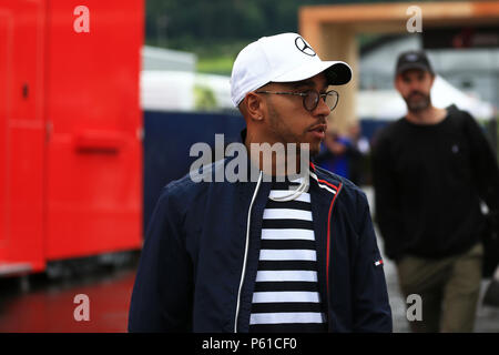 Red Bull Ring, Spielberg, Austria. 28th June, 2018. Austrian Formula One Grand Prix, driver arrivals and press conference; Mercedes AMG Petronas Motorsport, Lewis Hamilton Credit: Action Plus Sports/Alamy Live News - Stock Photo