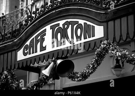 CAFE TORTONI is a famous MICROCENTRO CAFE frequented by high society PORTENOS - BUENOS AIRES, ARGENTINA - Stock Photo