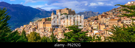 Impressive Caccamo village,view with old castle and mountians,Sicily,Italy. - Stock Photo