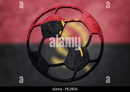Soccer ball national Angola flag. Angola football ball. - Stock Photo
