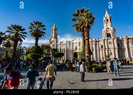 The Basilica Cathedral of Arequipa is located in the 'Plaza de Armas' of the city of Arequipa, province of Arequipa, Peru - Stock Photo