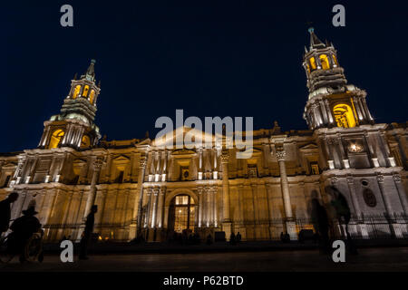 The Basilica Cathedral of Arequipa is located in the 'Plaza de Armas' of the city of Arequipa, province of Arequipa, Peru. - Stock Photo