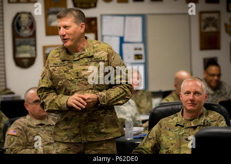 Maj. Gen. Mark Palzer, 79th Sustainment Support Command speaks his thoughts about training junior leaders with attendees at the 311th Sustinament Command's (Expeditionary) Yearly Training Brief. 'An E1 Private is the lowest rank leader... Of all our weapons and equipment, people, are the Army's most valued asset.' He also said, 'Training needs to be fun but more importantly, challenging. It's what makes Soldiers want to come back.' April 2, 2016. Port Hueneme, Calif.    -US Army photo by SPC Timothy Yao - Stock Photo