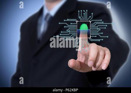 Businessman pressing modern technology panel finger print - Stock Photo