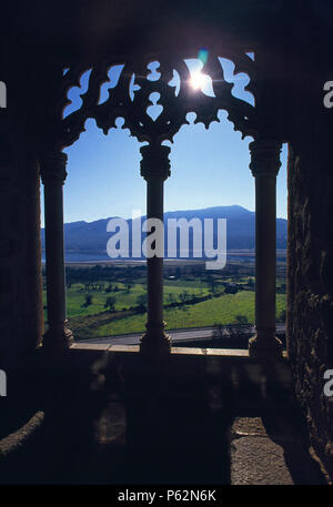 Gothic balcony. Castle, Manzanares El Real, Madrid province, Spain. - Stock Photo