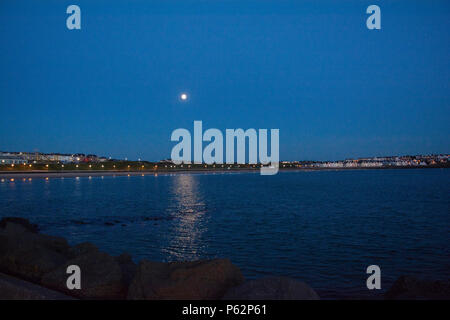 West Bay Area of Portrush photographed at Dusk - Stock Photo