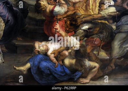 Peter Paul Rubens (1577-1640). German-born Flemish Baroque painter. Massacre of the Innocents, 1635-40. Version Pinakothek. Detail. Munich. Germany. - Stock Photo