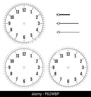 Set of round clock faces. Design for men. Blank display dial of mechanical, electrical device with figures for measuring time, hours, minutes, seconds - Stock Photo