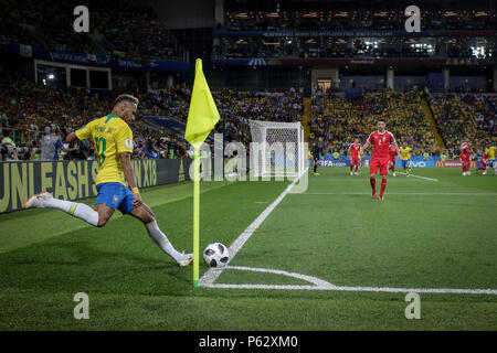 Moscou, Russia. 27th June, 2018. NEYMAR of Brazil during the match between Serbia and Brazil valid for the third round of group E of the 2018 World Cup, held at the Spartak Stadium. Brazil wins over Serbia, 2-0. Credit: Thiago Bernardes/Pacific Press/Alamy Live News - Stock Photo