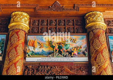 Yangon, Myanmar - FEB 19th 2014: Interior roof detail of the entrance of Shwedagon Pagoda - Stock Photo