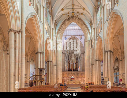 The Nave of York Minster or also known as the Cathedral and Metropolitical Church of Saint Peter, York, in Yorkshire, England, United Kingdom. - Stock Photo